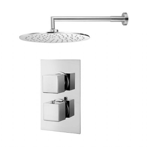 Abacus Emotion Thermostatic Square Concealed Shower Mixer With Round OverHead - Chrome